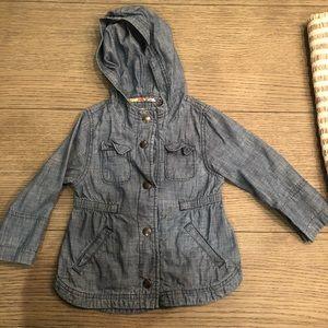 Denim linen toddler girls jacket